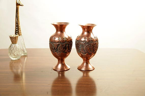 Pair Vintage Persian Repousse Copper Vases Hand Chased
