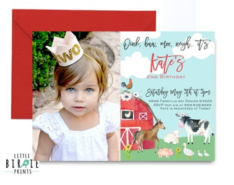 Girl FARM Birthday Party invitation Farm Birthday invitation Farm Invitation Farm animals Barnyard animals Watercolor Farm Invitation Girl