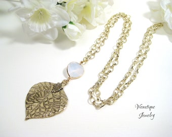 Leaf Pendant Necklace, Gold Leaf Necklace, Long Necklace, Long Gold Necklace, Leaf Charm Necklace