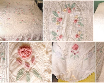 Unique Vintage Crochet Lacework hand stitched Applique Quilt FREE SHIPPING!!