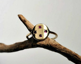 Ruby ring, Ring with stones, July Birthstone Ring, Gold delicate ring, Mom of 4 kids gift, Wife gift, 14 karat yellow gold ring with ruby