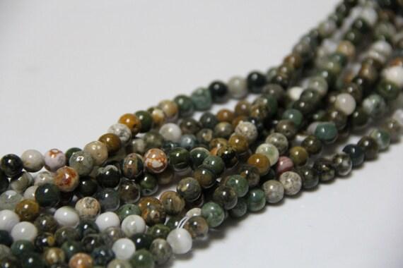 """Ocean Jasper 8mm smooth round beads 16"""" length full strand"""