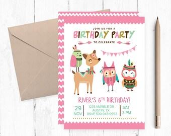 Boho Invitations, Tribal Invitations, Aztec Invitations, Bohemian Birthday Invitations, Tribal Birthday Invitations, Tribal Girl Invitation,