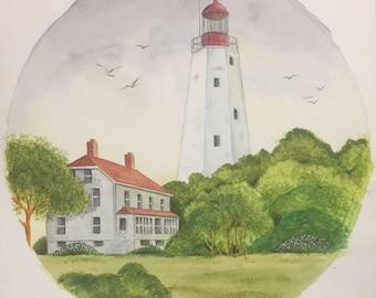 Sandy Hook, NJ  Lighthouse Original Watercolor Art