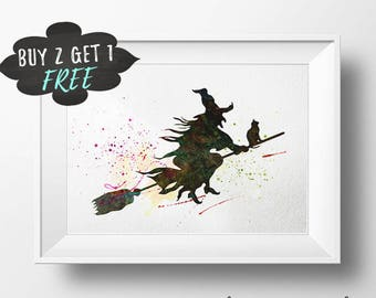 Halloween Witch Printable, Sign For Halloween Party, Halloween Favors, Halloween Decor, Halloween Art Print, Watercolor Halloween Decor Art