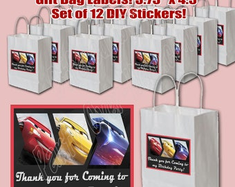 """Cars 3 Disney Movie 3.75"""" x 4.5"""" THANK YOU Gift Bag Goody Bag Label Stickers, 12 pcs, Personalized Option party favor decoration"""