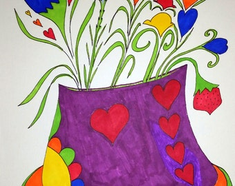 Blooming Hearts and Flowers for You! ORIGINAL Ink Painting! Bright Colors Will Brighten Your Day!