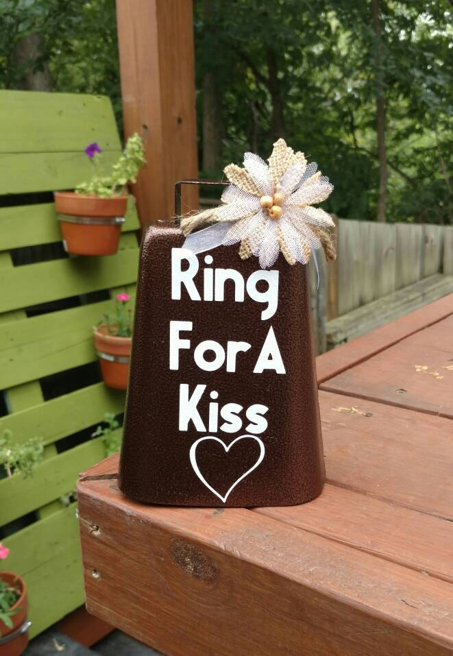 Ring For A Kiss Rustic Wedding Kissing Bell Cowbell Barn