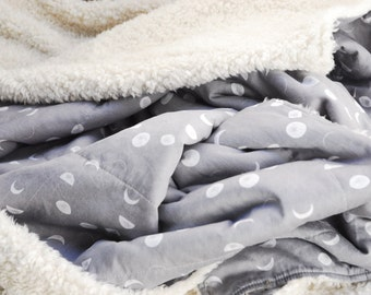 Faux Fur Baby Blanket, Grey Moon Phases Organic Cotton, Plush Fur Blanket, Made to Order