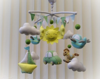 Baby mobile Ready for shipping baby boy mobile Crib mobile Transport nursery decor Felt mobile for boy First gift for baby shower gift