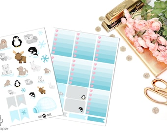 VERTICAL Arctic Animals Sticker Set for Erin Condren Planners (Walrus, Penguin, Wolf, Bear, Moose, Whale, Seal, Rabbit)