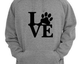 Love Paw Print Animal Lover Dog Cat Unisex Pullover Hoodie Sweatshirt Many Sizes Black Gray Custom Gift for Her Mothers Day Jenuine Crafts