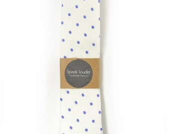 White purple dots linen necktie - Wedding Mens Tie Skinny Necktie - Laid-Back necktie