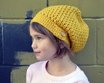 Mustard Crochet Slouchy Beanie