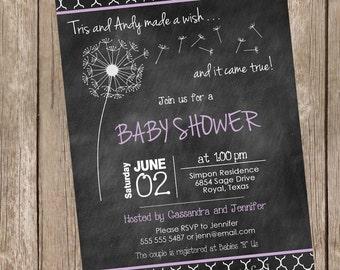 Dandelion Spring Baby Shower Invitation, lavander, chalkboard, typography, printable invitation