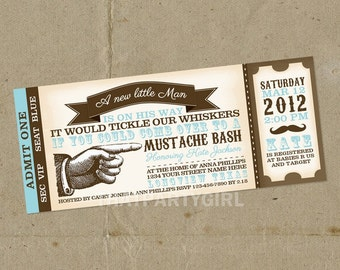 12 Vintage Inspired Mustache Bash Party Ticket Invitations