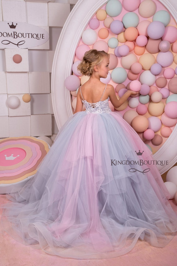 Pink and grey tulle flower girl dress birthday wedding party mightylinksfo