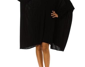 1980s Minimalist Extra Long Sleeve Oversized Black Tunic Dress ONE SIZE