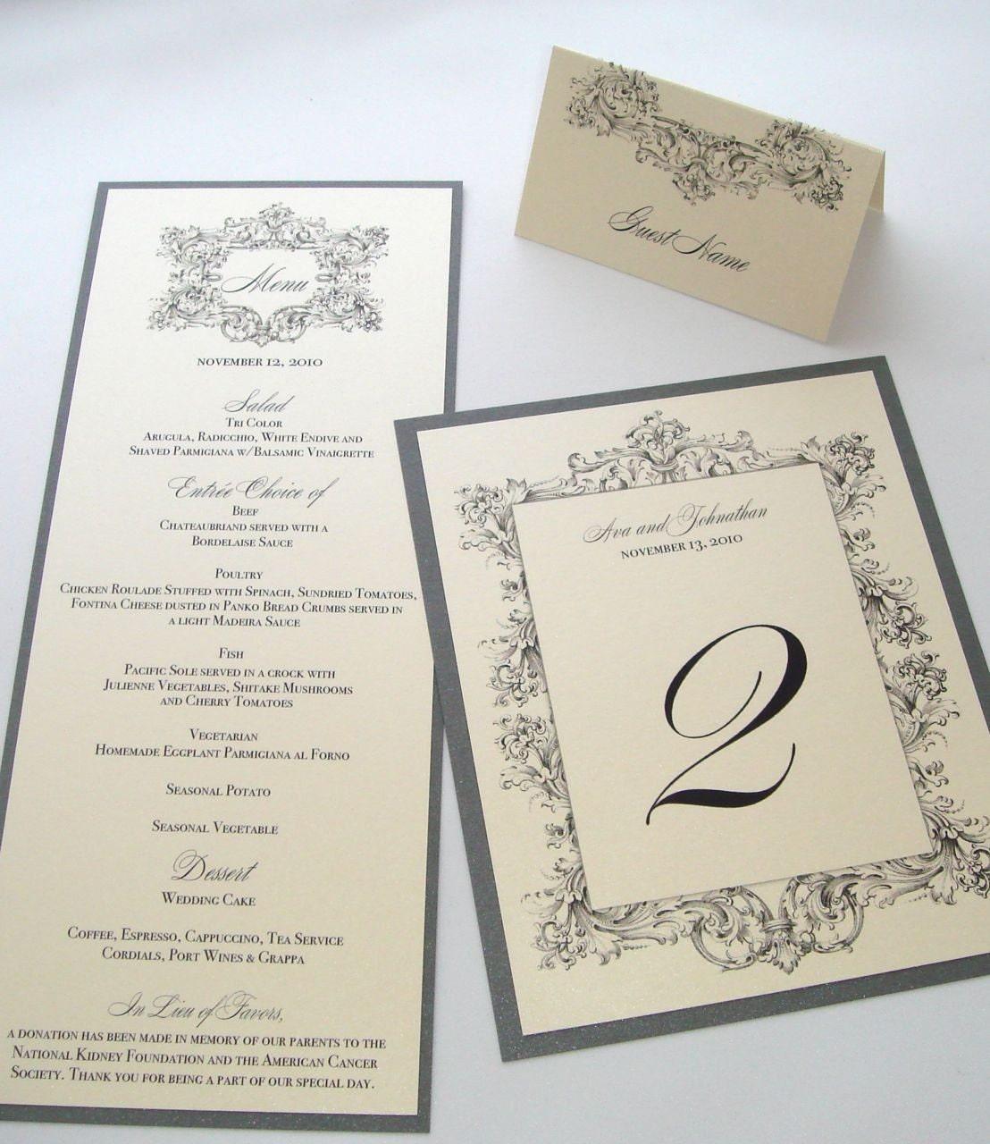 Menu Cards For Wedding Receptions: Ava Vintage Wedding Reception Stationery Menu Place Card