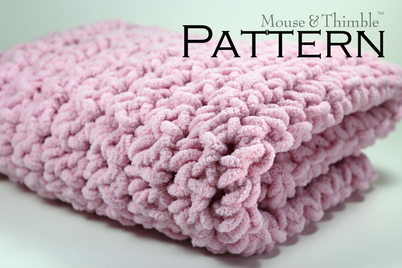 Crochet PATTERN / Baby Blanket / Chunky Fleece / Super Bulky / 26\