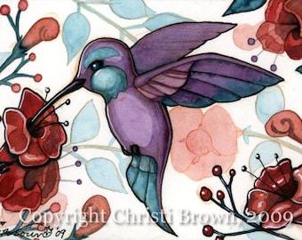 Hummingbird watercolor painting art print lavender teal humming bird matted