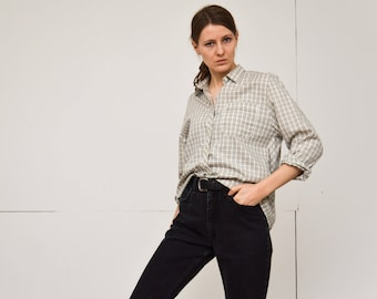 vintage greige check woman's shirt classic collar long sleeves boyfriends shirt in white taupe black