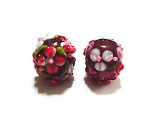 5 pieces 14mm Red Flower Lamp Work Beads, Lampwork Beads, Glass Beads