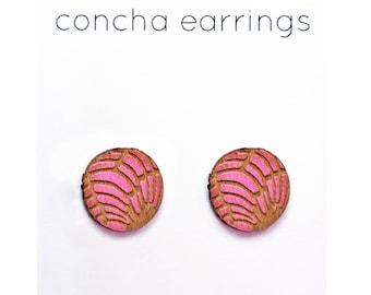 Pink concha earrings Mexican sweet bread pan dulce