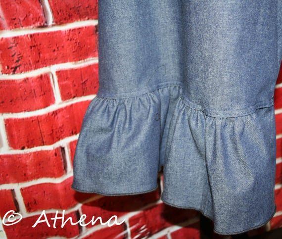 Womens Ruffle Pants Knit Waistband One Ruffle  (Custom Made)  XXS - 4XL