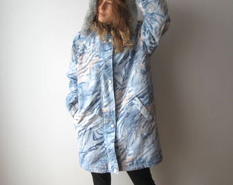 Vintage Women's Parka Coat Blue Patterned Winter Cropped Coat Faux Fur Trim Parka Coat Large Size Winter Hipster Jacket Detachable Hood Coat