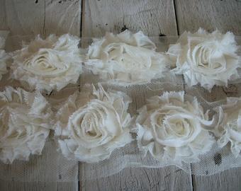 Chiffon Shabby Chic Rose Trim in IVORY -2 1/2 inch Flower-1/2 yard and 1 yard