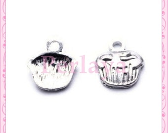 Set of 15 charms cakes muffins silver REF161X3