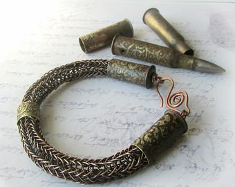 Bullet Casing Viking knit bracelet,Bullet Bangle Bracelet,Mens bracelet, braided copper bracelet, copper viking knit, one of a kind