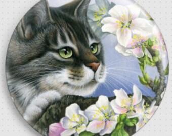 Cat Needle Minder, 'Apple Blossom', Irina Garmashova-Cawton, Cross Stitch Keeper, Kitten Fridge Magnet, Cross Stitch Accessory,