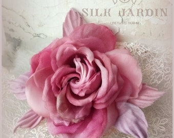 Silk flowers, Rose brooch, Flower for bride, Silk Flower Corsage, Silk brooch, wedding, pink rose, Rose, Textile brooch, fabric flowers