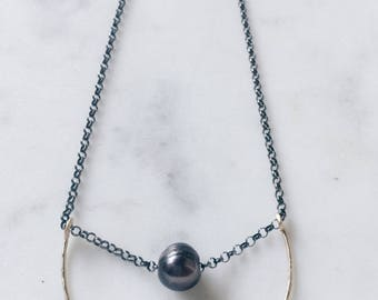 Oxidized Sterling Silver Necklace with Hanforged Gold Fill Bar and Freshwater Pearl
