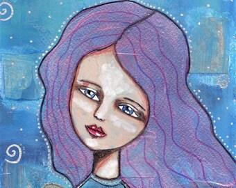 A Journey Spiral Angel. Original art. Fine Art Print, Original Art Work, Angel Art, Original Painting, Mixed Media