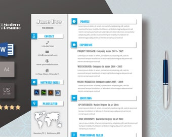 MS Word Resume Template / CV Template + Cover Letter