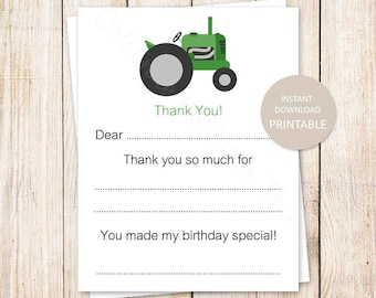 PRINTABLE tractor thank you cards . birthday fill in the blank thank you . green tractor, farm . INSTANT DOWNLOAD