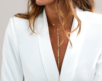 Coin Choker Necklace, Y Lariat Necklace, Gold Choker Necklace, Gold Statement Necklace in Sterling Silver, Gold Filled
