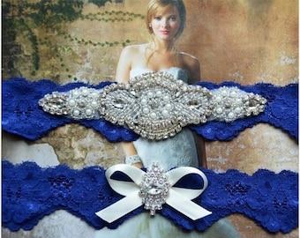 ON SALE Wedding Garter Set, Bridal Garter Set, Royal Blue Garter, Crystal Pearl Garter, Blue Lace Garter, Royal Blue Garter Belt, Something