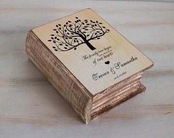 Custom ring box Personalized Wedding ring box Rustic ring bearer box Wedding tree box Ring pillow Wooden Wedding box Engagement Book Box
