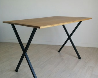Industrial desk solid wood and metal