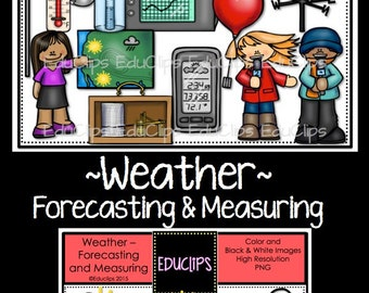 Weather Forecasting and Measuring Clip Art Bundle