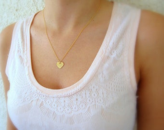 Gold necklace, Heart necklace, Gold heart necklace, Dainty necklace, Gold filled necklace, Simple necklace, Minimalist necklace, Boho