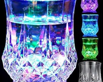 Set of 2 glasses bright multi-color LED 8 150 mL color Modes 4