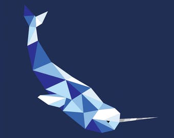 """Dancing Narwhal #1 Paper Piecing Pattern with Beluga Option - 16"""" x 16"""" Quilt Block"""