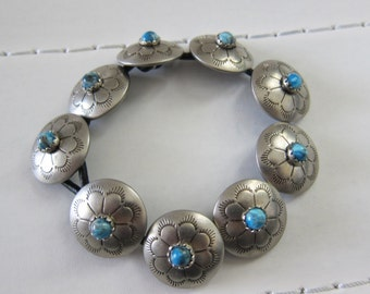 Silver Turquoise Button //Leather Bracelet