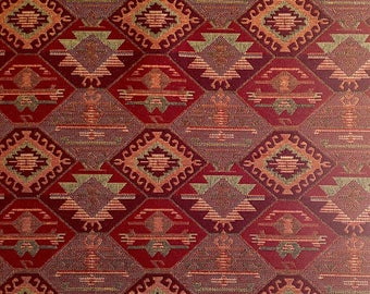Ethnic Tribal Upholstery Fabric, Double-faced Cloth, Aztec Navajo Fabric, Geometric Kilim Fabric, Home Decor Tapestry, Claret Red, Ycp-028