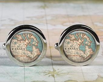 Canada cuff links,  Canada map cufflinks wedding gift anniversary gift for groom gift for men groomsmen gift for best man Father's Day gift